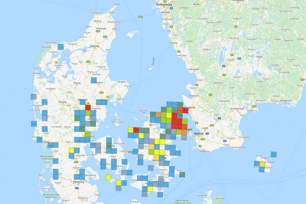 Registreringer af Kileplet-Mosaikguldsmed under atlasundersøgelsen med det nye fund i Vejlerne. Fra guldsmedeatlas.dk.