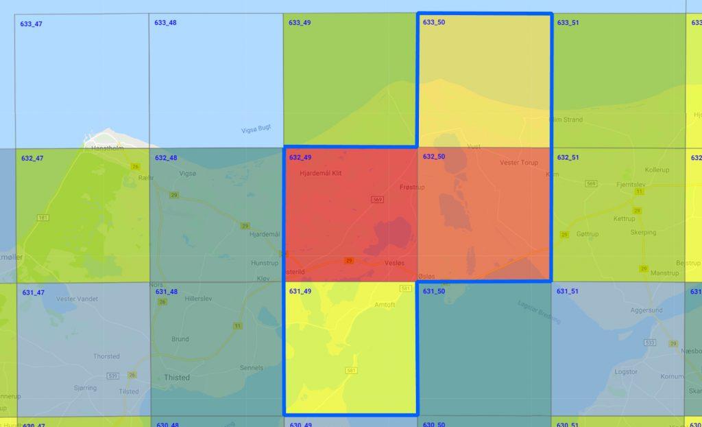 Atlaskvadrater (fra www.guldsmedeatlas.dk) som dækker Vejlerområdet.